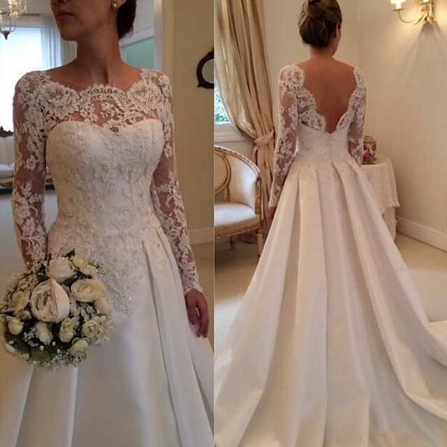 A-line Satin with Lace Appliqued Chapel Trian Long Sleeve Wedding ...