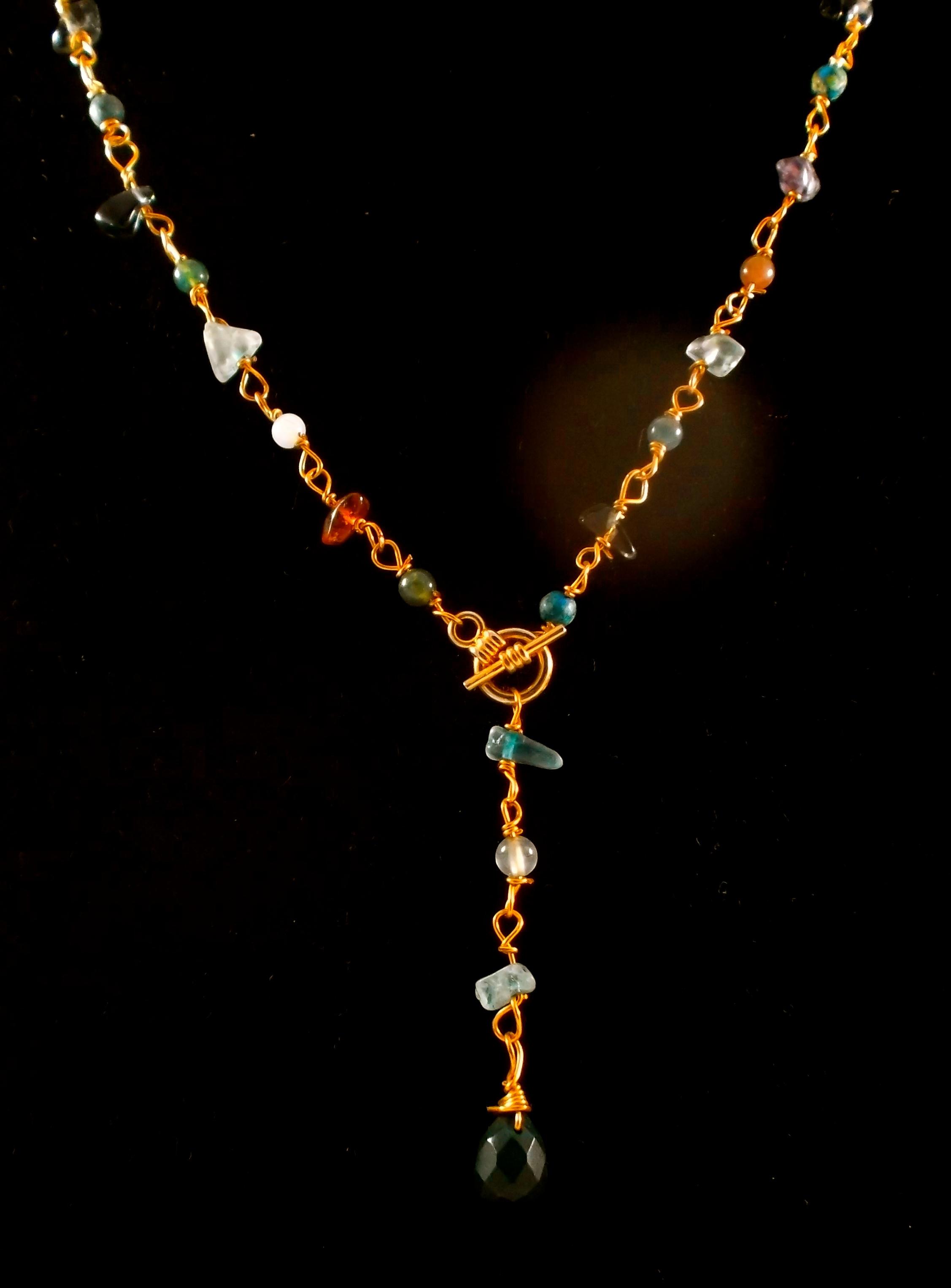 Multi-gem Bloodstone Lariat necklace