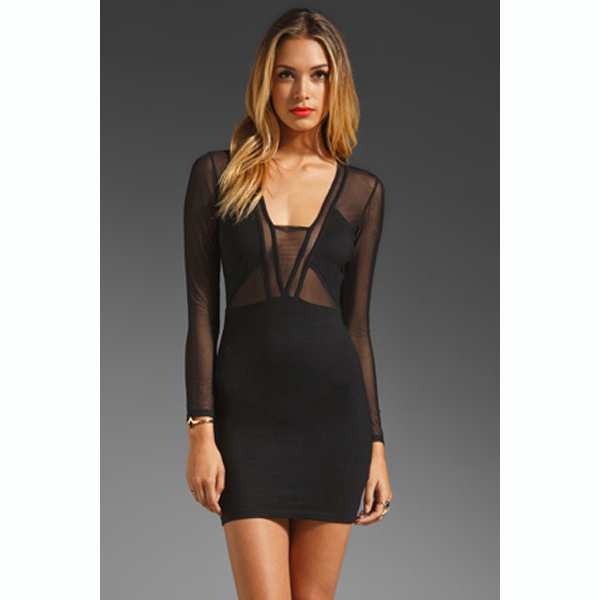 7fe1a894f0e8 Seductive Sheer Long Sleeve Mini Dress - Black on Storenvy