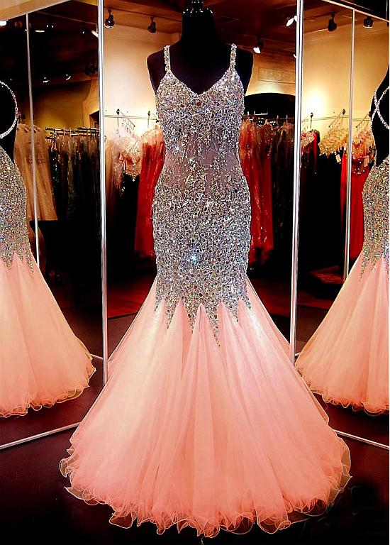 New Arrival Spaghetti Strap Tulle With Beaded Mermaid Sparkly Prom