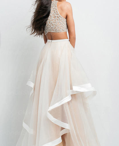 Light Champagne Prom Dressessexy 2 Piece Prom Dresseshigh Low