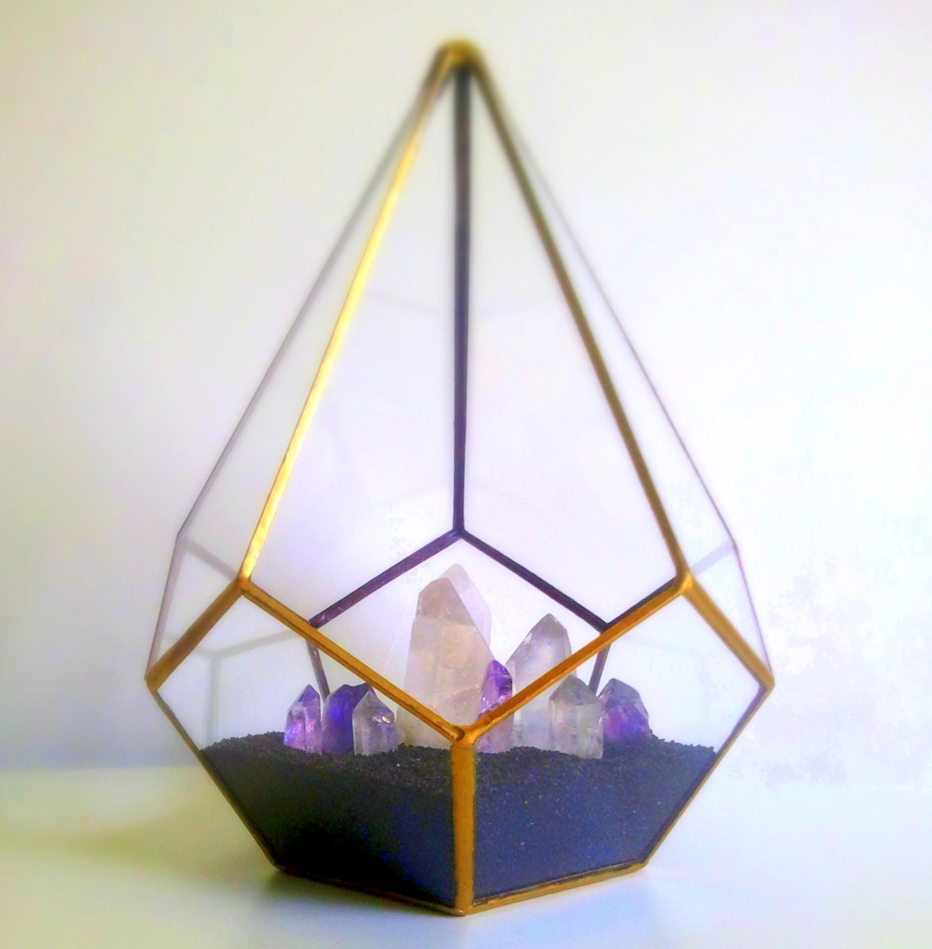 Gold Teardrop Terrarium Crystal Garden Geometric Decor