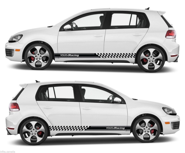 Ssk055 universal volks racing volkswagen vw drift rally car side stripes kit sticker