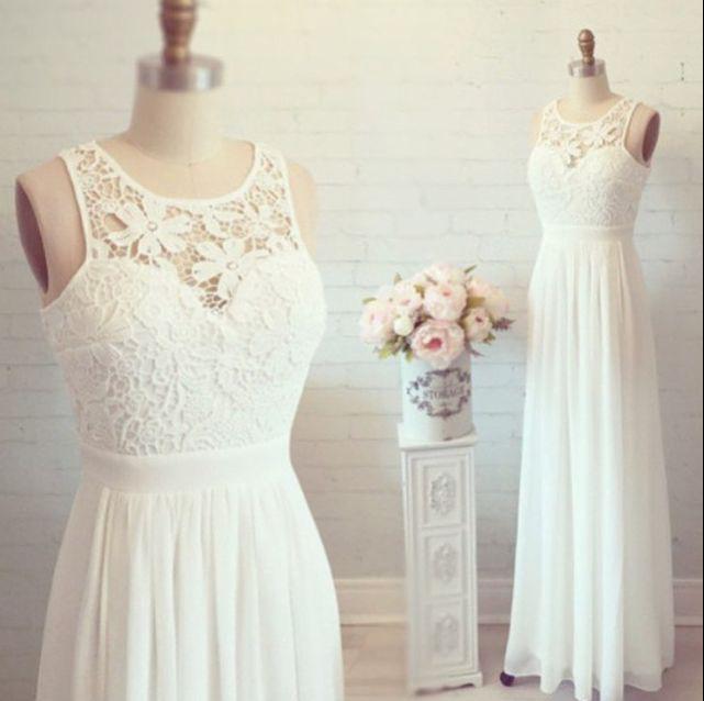 A-line Lace Bodice Prom Dress Ivory Chiffon Beach Wedding Dress Long ...