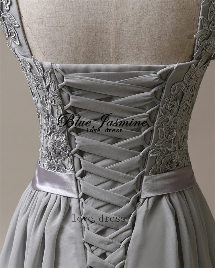 Silver Grey Chiffon Corset Long Bridesmaids Dress, Wedding, Bridal ...