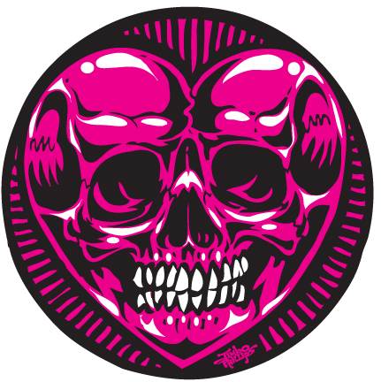 Skull heart full silkscreened round sticker