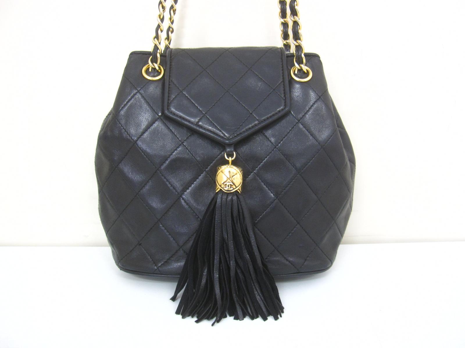 f7a7189b24f4 100% Authentic Vintage Chanel Matelasse Black Fringe Quilted Tassel  Shoulder Bag