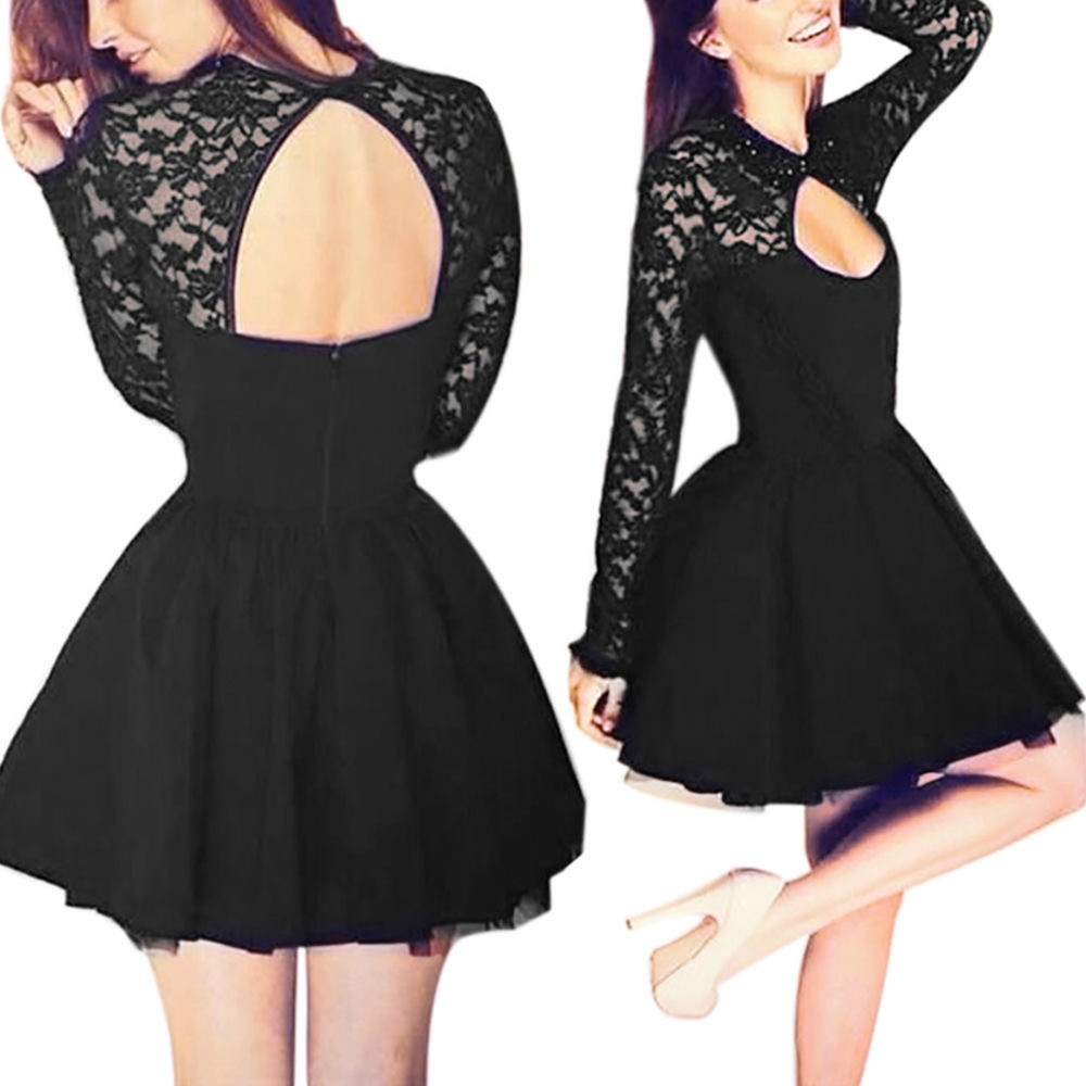 e23cbcac391 Black Long Sleeves Cocktail Dress With Keyhole Back - Thumbnail 1 ...