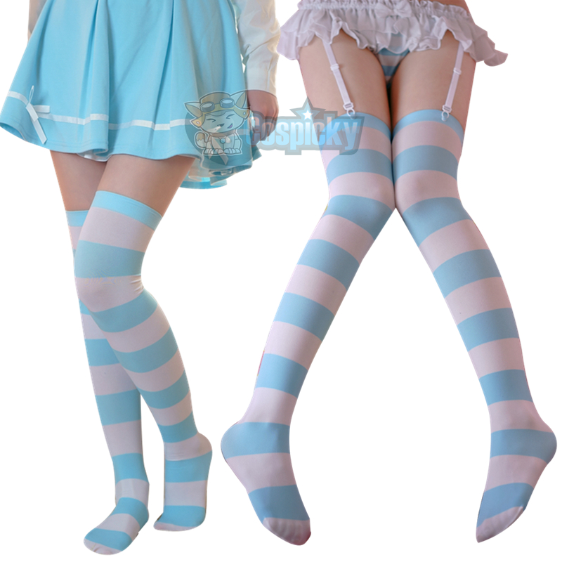 1e1eb5219 Blue White Stripes Thigh High Long Socks CP153384 on Storenvy