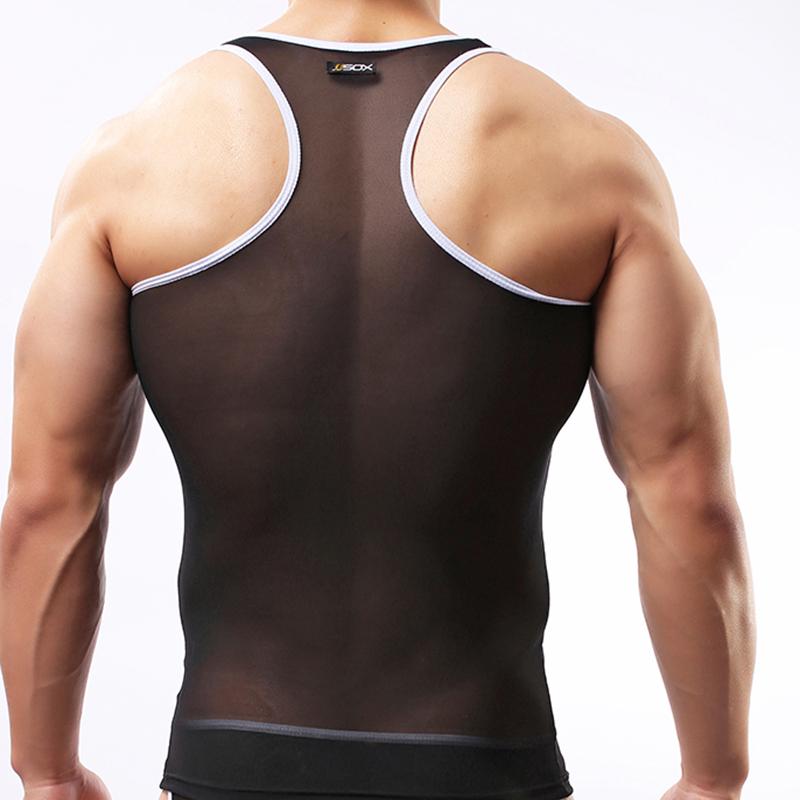 Summer 2015 fashion brand grenadine men sexy bodybuilding fitness tank tops  gay mesh transparent sleeveless vest
