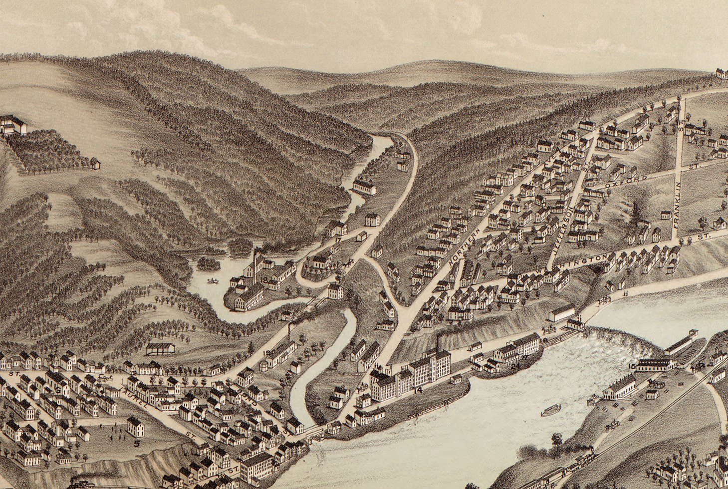Augusta Maine In 1878 Bird S Eye View Map Aerial Panorama