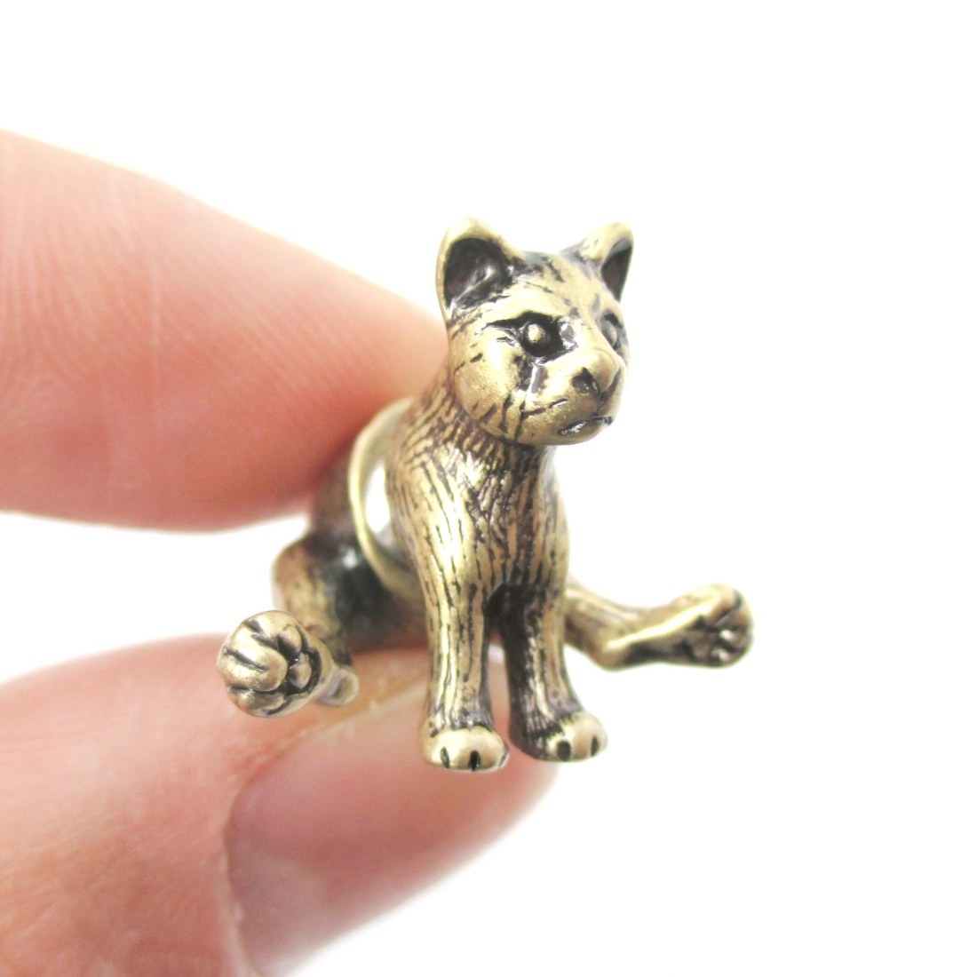 Fake Gauge Realistic Cat Shaped Front Back Plug Stud Earrings in Brass from  DOTOLY Animal Jewelry