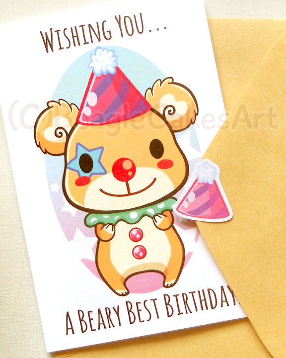 Cute Clown Bear 4x6 Inch Happy Birthday Card Beary Birthday Card