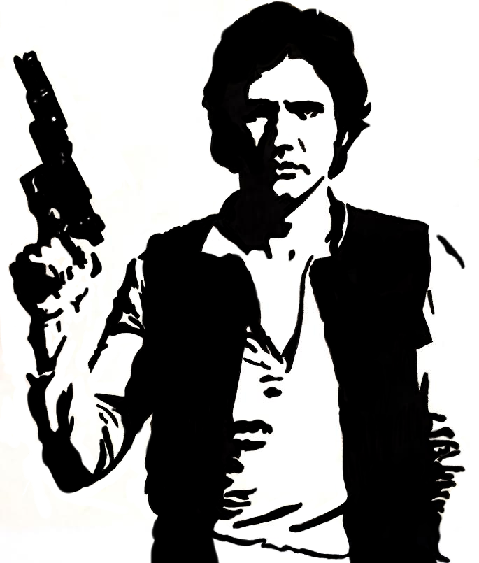 Star Wars Black And White Han Solo Illustration On Storenvy