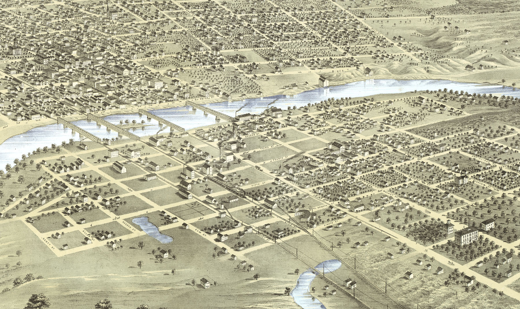 Des Moines, Iowa in 1868 - Bird\'s Eye View Map, Aerial map, Panorama ...