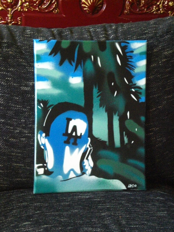 L Love La Paintinggreensbluescanvasstencil Artspray Paints