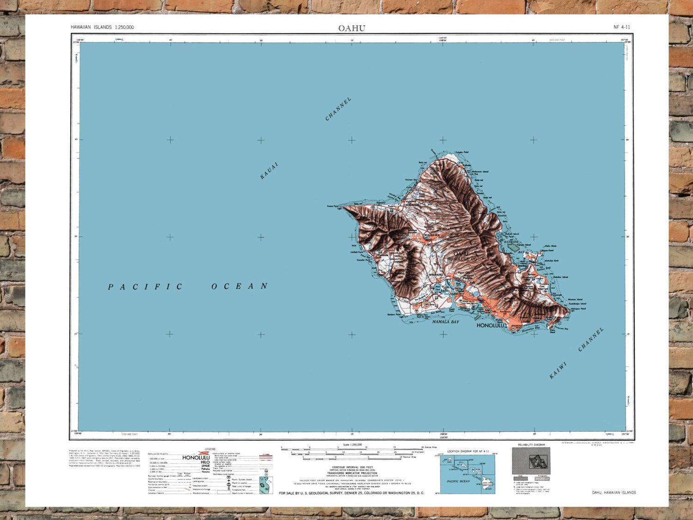 Vintage Map Of Oahu Hawaii On Storenvy
