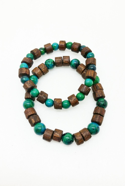 a513c3d891 Chrysocolla Wood Yoga Bracelet Healing Energy Stretch Mala Unisex Bracelet