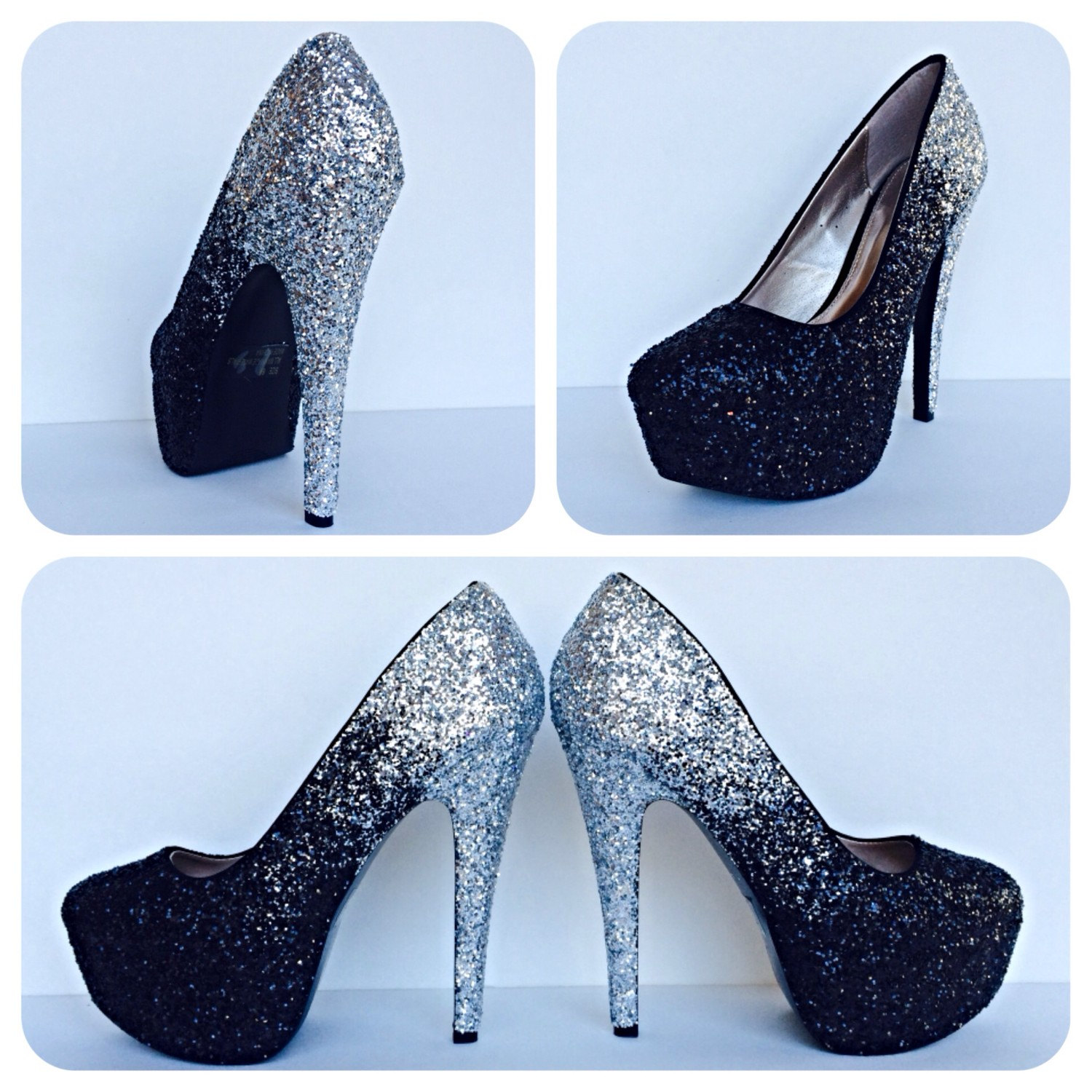 23939f7ca6e9 Black Glitter High Heels