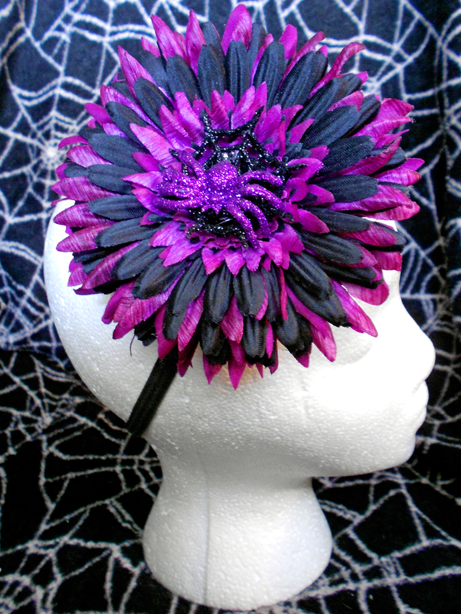 Purple And Black Flower With Glitter Spider Web Angel Devil