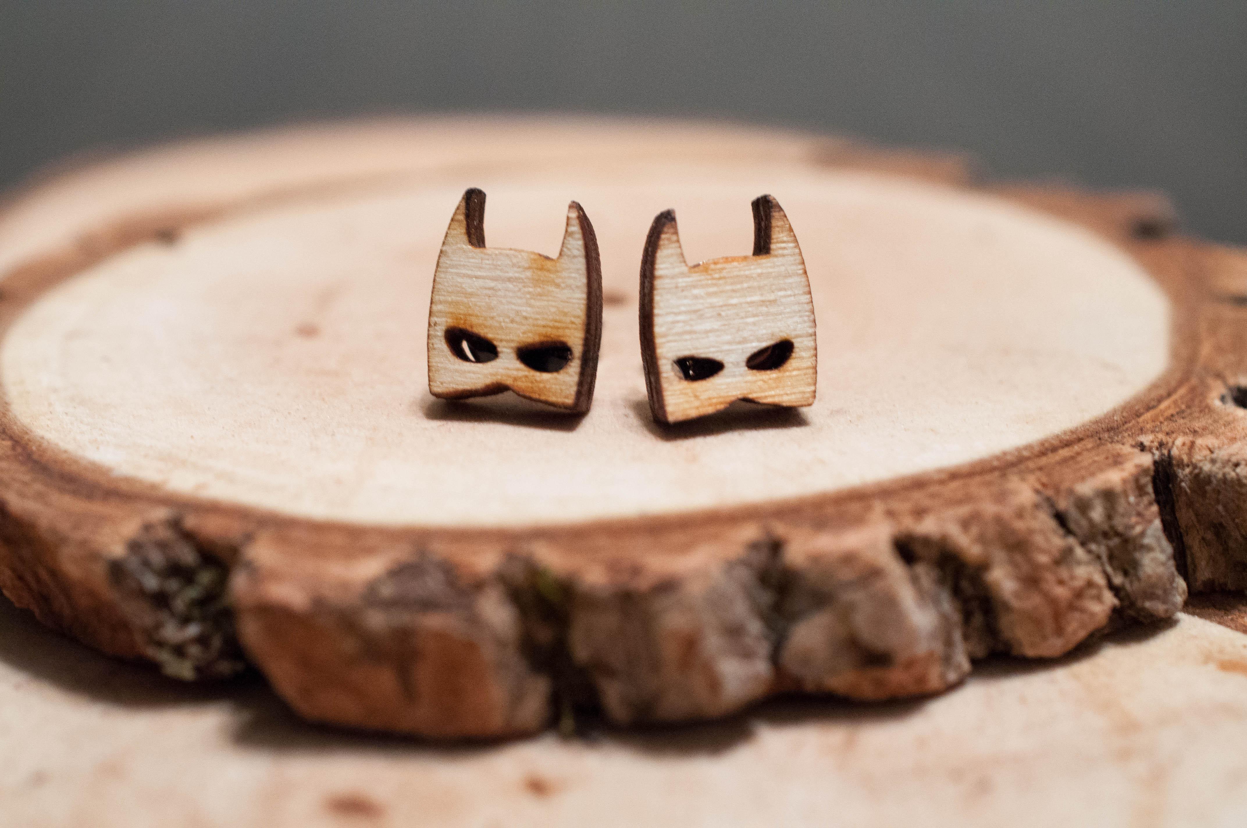 Batman Laser Cut Wood Earrings | super hero earrings | Unisex earrings from  SimplistiCreations