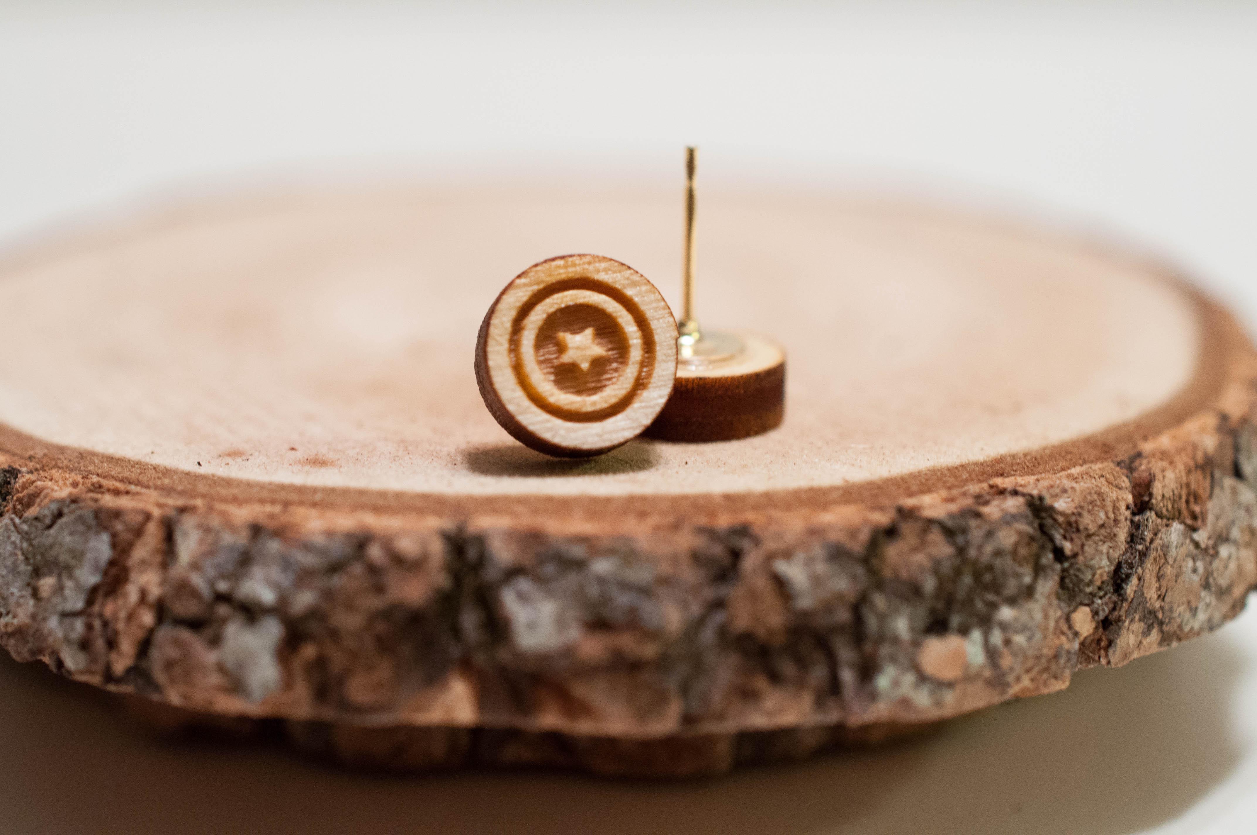 Captain America Laser Cut Wood Earrings | Avengers earrings | Unisex  earrings from SimplistiCreations
