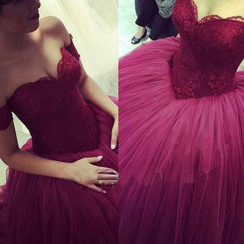 Purple Prom Dresses Tulle Prom Dresses A Line Prom