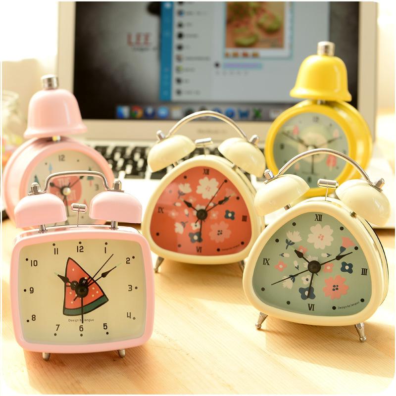 Metal Quartz Alarm Clock Vintage Needle Cute Fruit Table Clocks Home  Decoration Zakka Gift Novelty Households