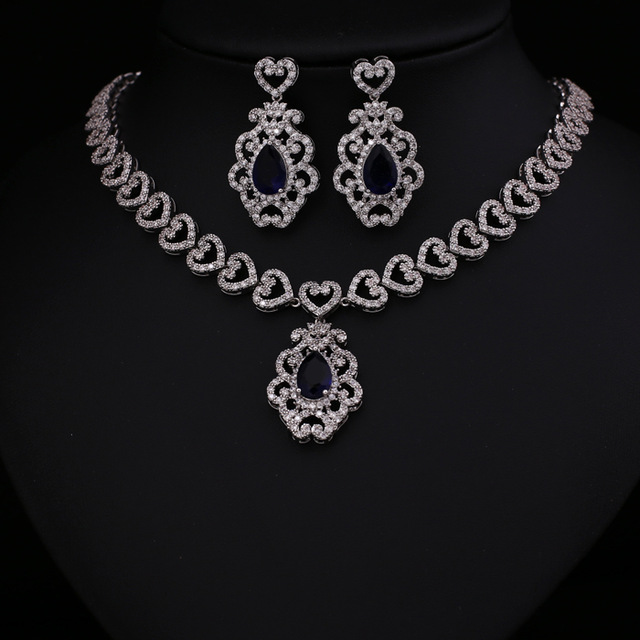7b7f89222 Free shipping platinum plated aaa cubic zircon jewelry sets earrings  necklace promotion nickel free factory price