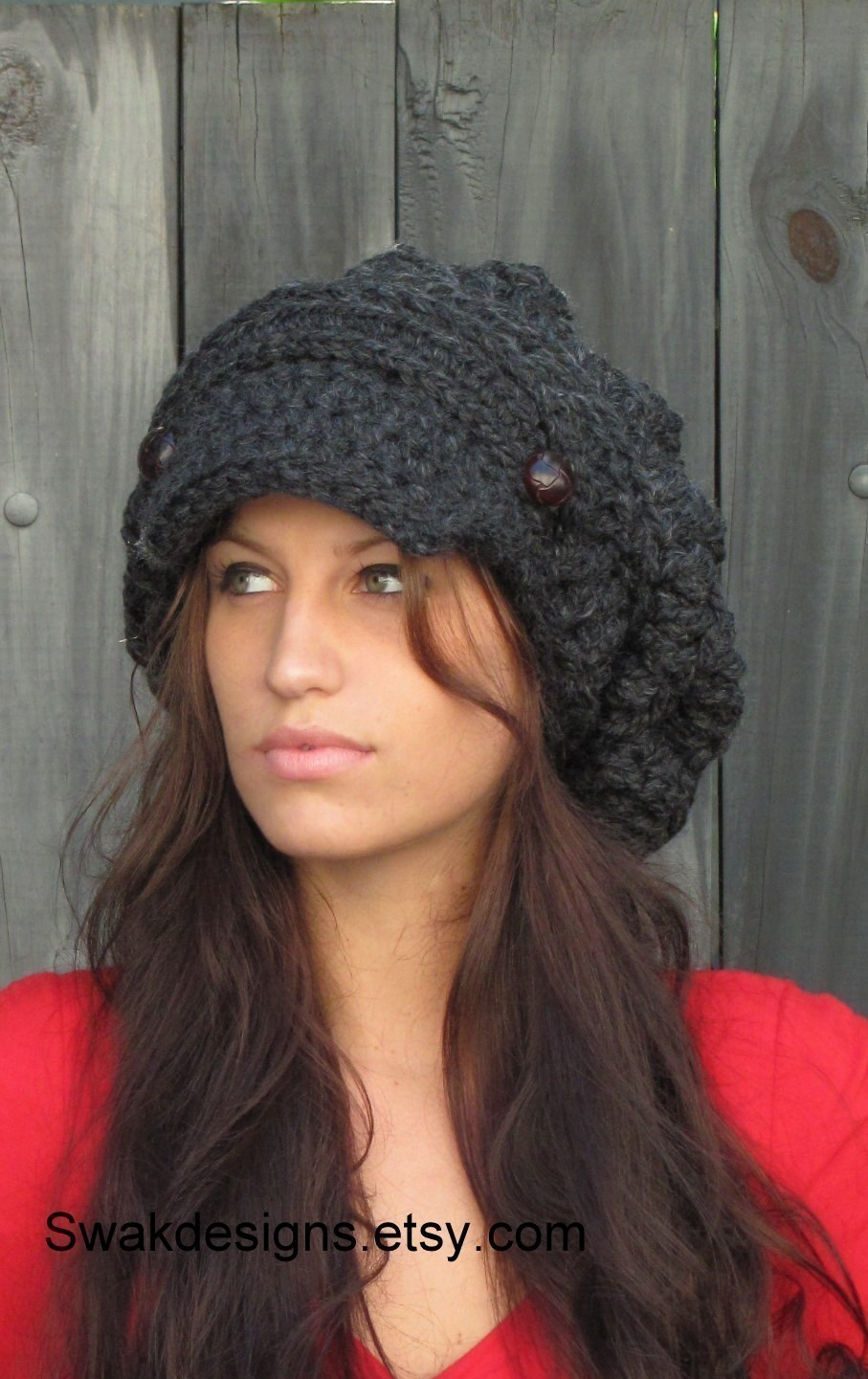 3b11e49347e Black Slouchy Hat Womens Hat Two Button Band Newsboy Cap Handmade ...