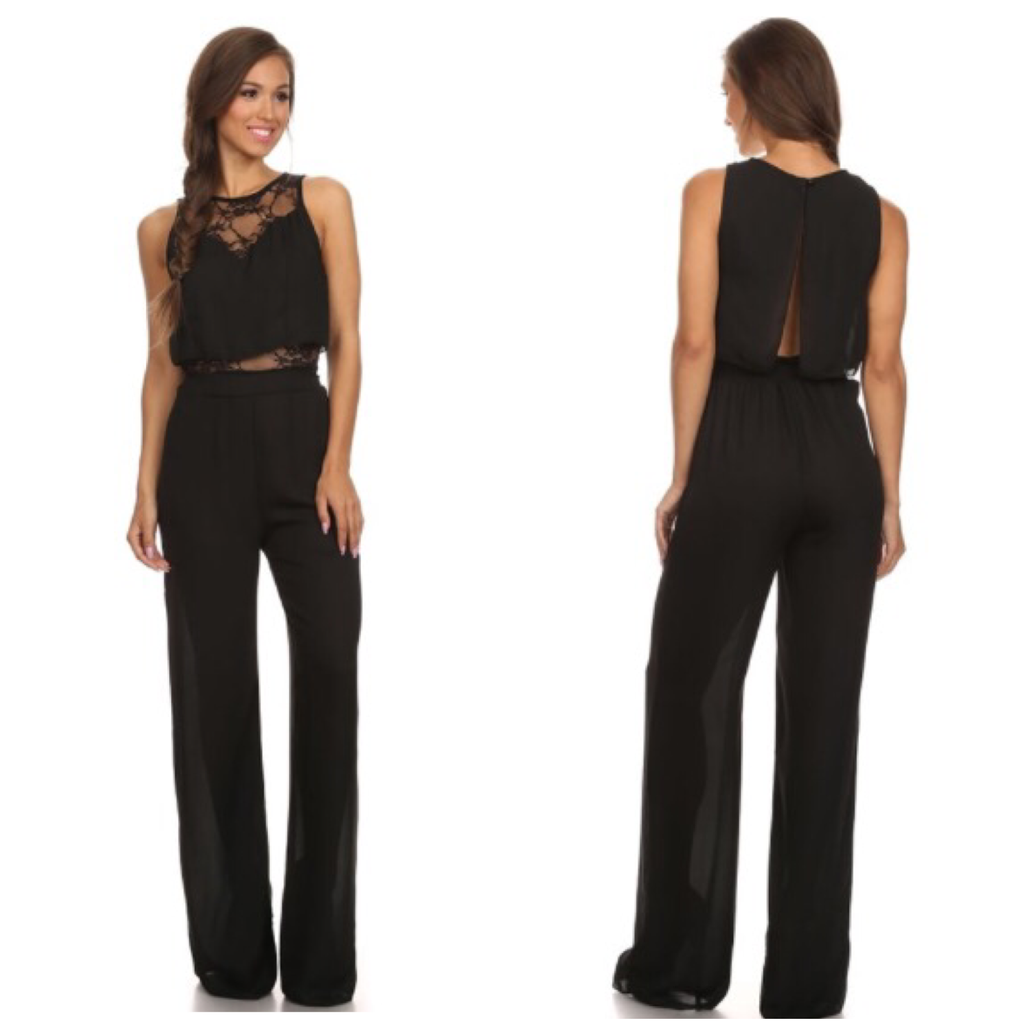 60135bdeb14 Black Jumpsuit w Lace · Jaded Bliss Boutique · Online Store Powered ...