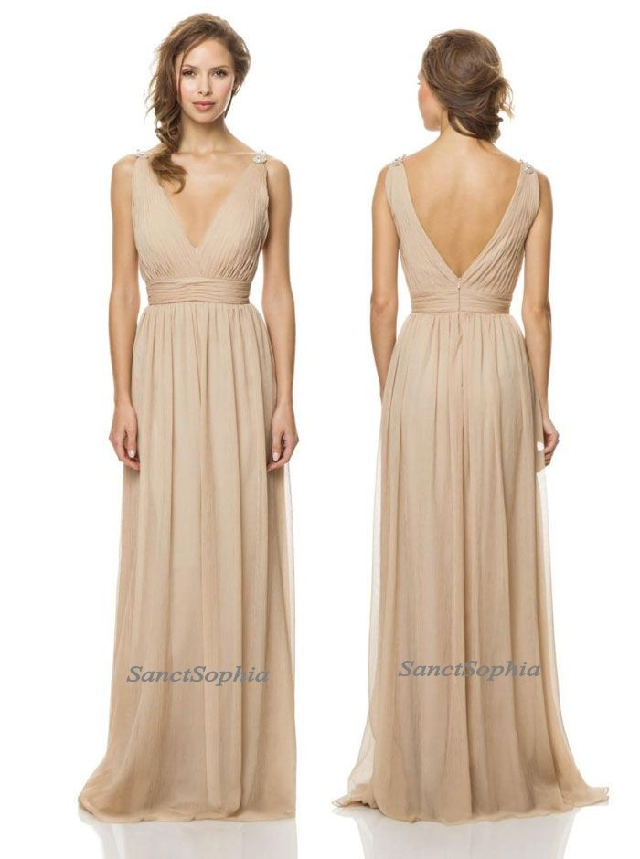 Full Length V-neckline Champagne Bridesmaid