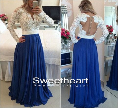 Sweetheart Girl A Line Long Sleeve Lace Long Navy Blue