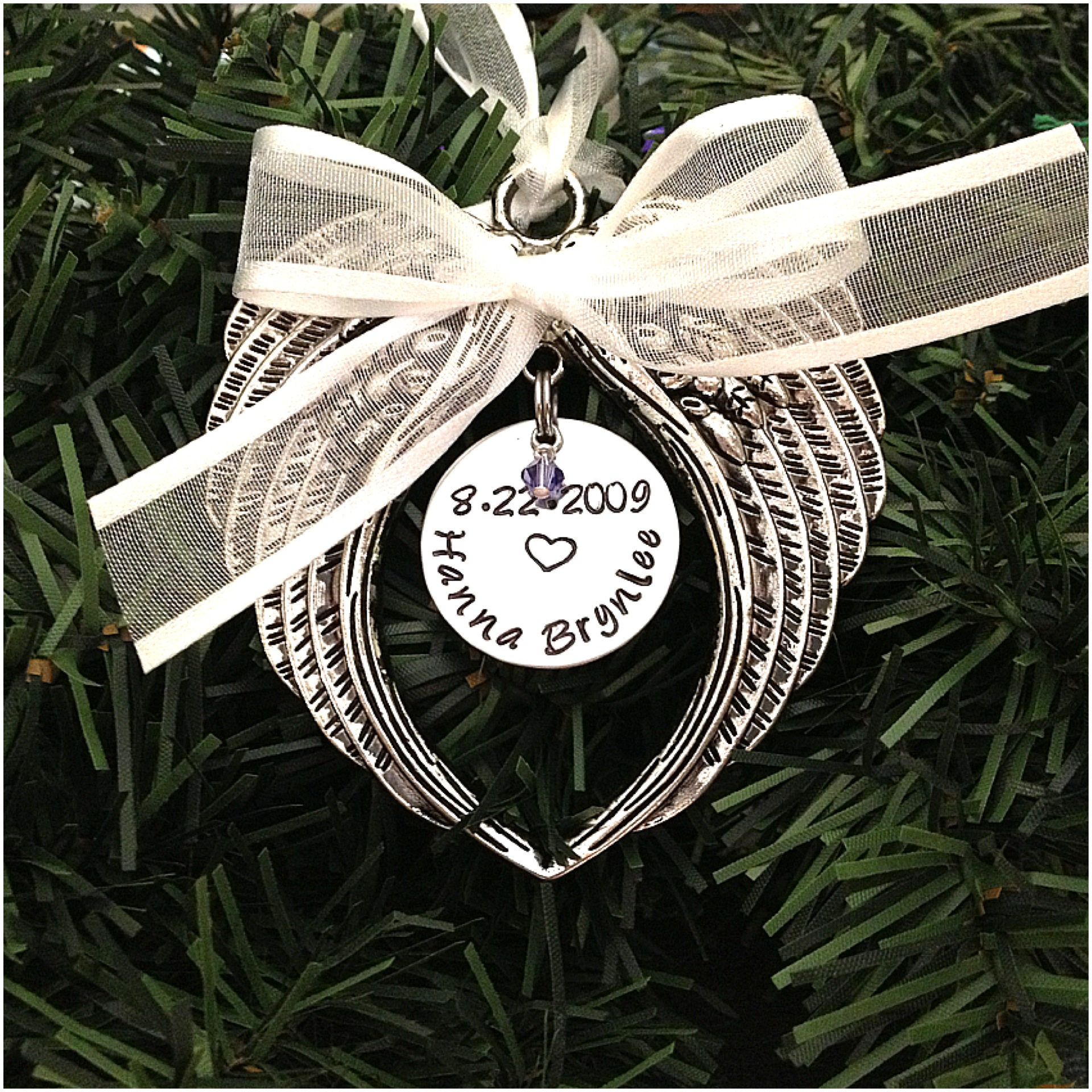 812054976 Hand Stamped Angel Baby Ornament First Christmas In Heaven With Swarovski  Crystal Birthstone