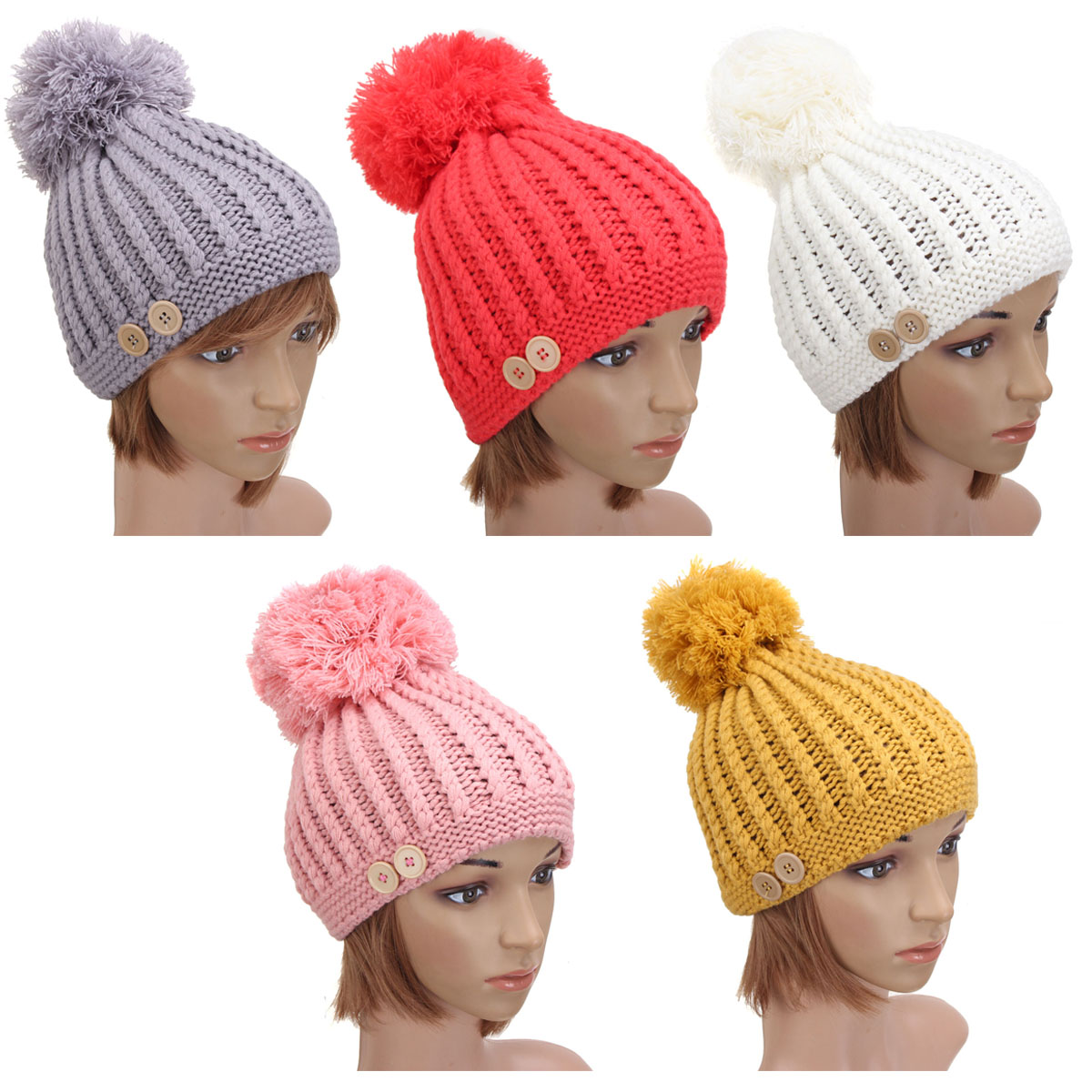 c8567c9f94f ... Women Ladies Button Crochet Knitted Beret Hat Ski Beanie Ball Wool  Winter Warm Cap - Thumbnail