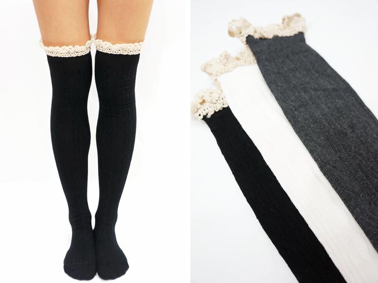 31a4be17063 ... Comfy Lace Trim Knit Thigh High Boot Socks- Dark Grey - Thumbnail 2 ...