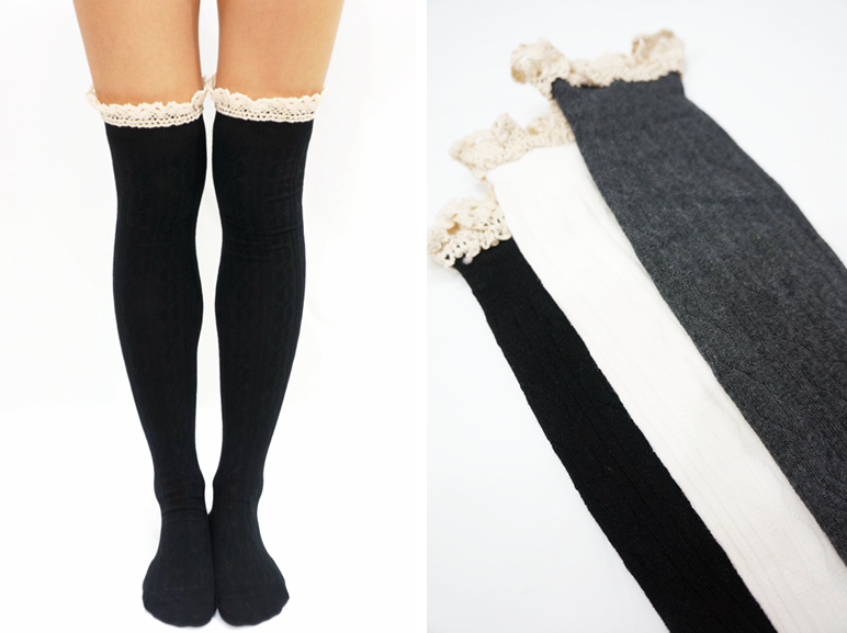 35f431d78 Comfy Lace Trim Knit Thigh High Boot Socks- Black · Sandysshop ...