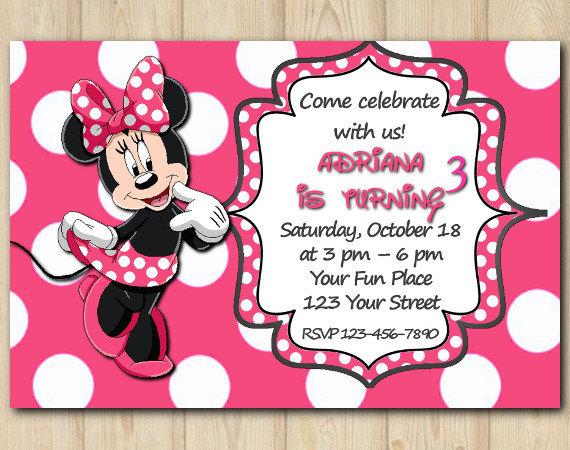 Minnie Mouse Invitation Birthday Custom Printable File Diy 051