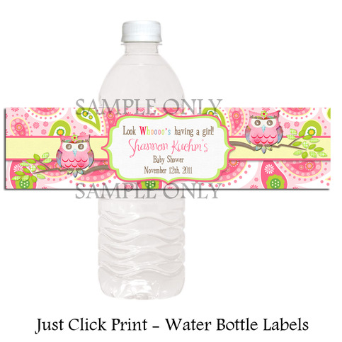 Paisley Owl Baby Shower Or Birthday Water Bottle Labels