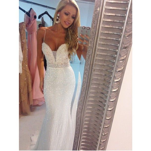 2016 New Design Floor-Length Mermaid White Sequin Lace Long Prom Dresses   37a421b2c