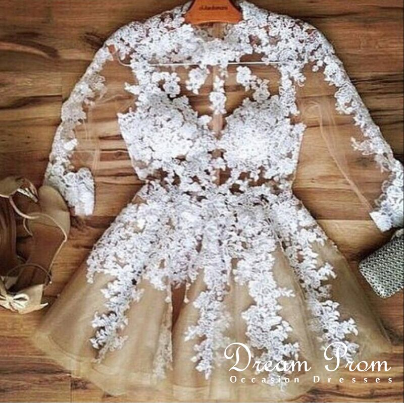 755ff00c262 White A-line Lace See-through Long Sleeve Short Prom Dress ...