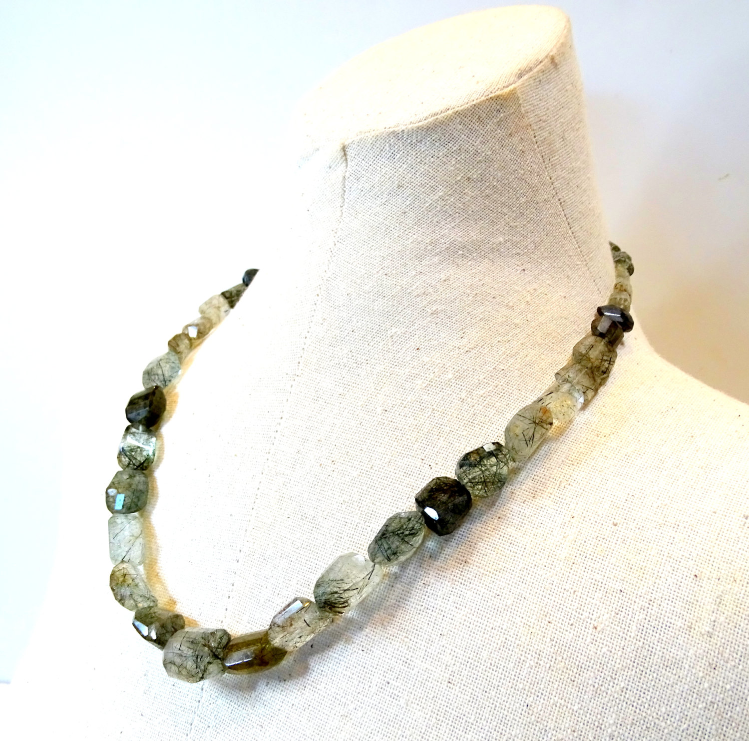 Ooak Tourmalated Quartz Nugget Necklace Aa Faceted Gemstone