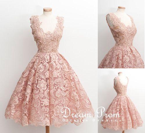 113c3e8f04a4 Elegant Light Pink Flower Lace Knee-length Short Prom Dress