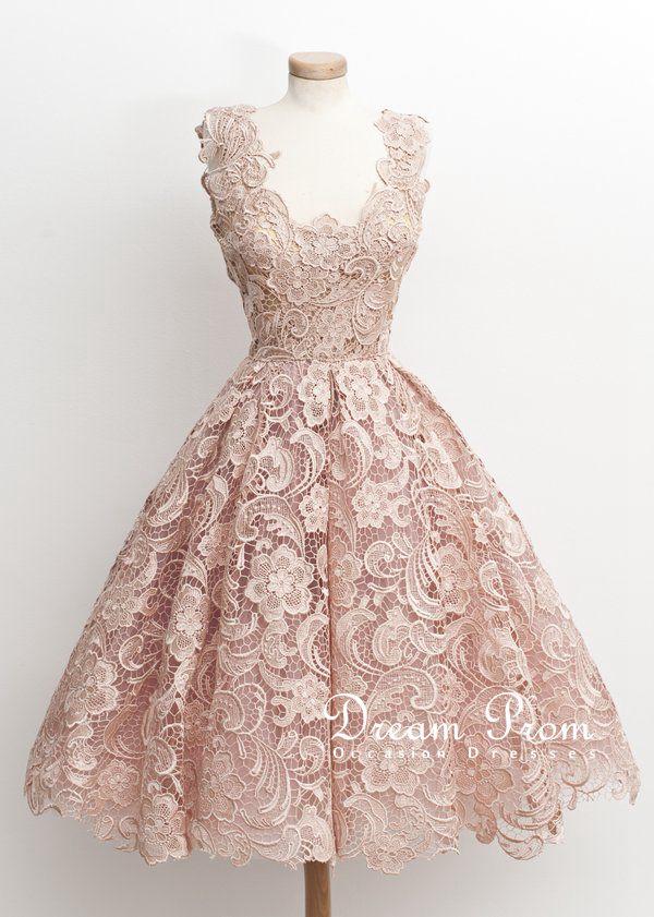 Elegant Light Pink Flower Lace Knee-length Short Prom Dress,Party ...