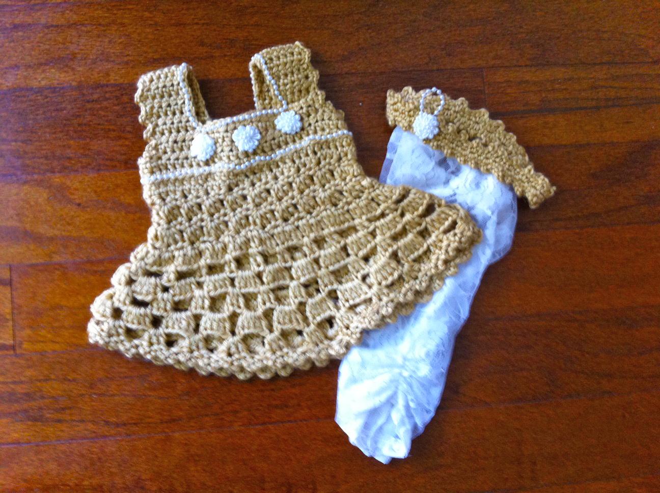 Golden Crochet Baby Dress Set Crochet Baby Dress Crochet