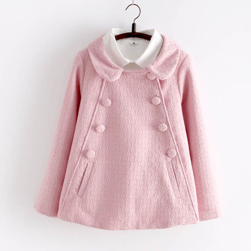 939432a34ad Lolita Double Breasted Doll Collar Pink Winter Coat With Two Pockets from  Sweetbox Store
