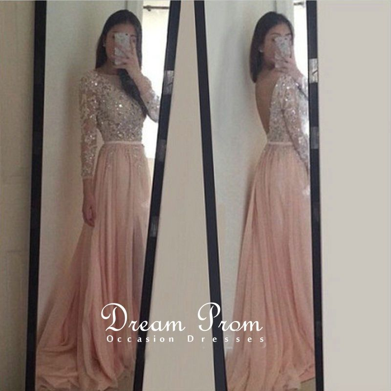 Light Pink Sequins Beaded Open Back long Sleeves Prom Dress,Party ...