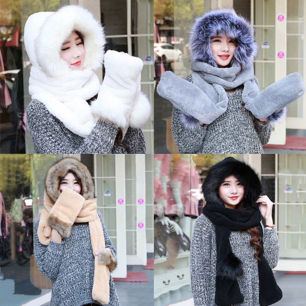 Women Ladies Faux Fur Fluffy Coral Velvet Hood Scarf Cap Gloves Warm Snood  Pocket Hat 7d997f6fd