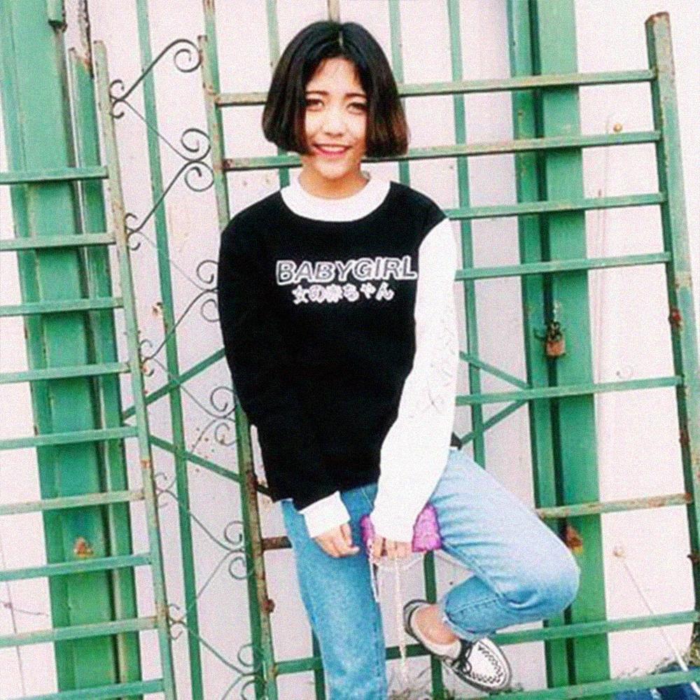c93e02126 JAPANESE LETTER BABYGIRL SWEATER IN BLACK · soldrelax · Online Store ...