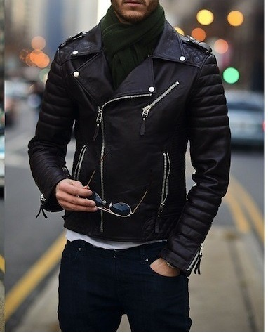 Mens biker leather jacket, Mens fashion black motorcycle ...